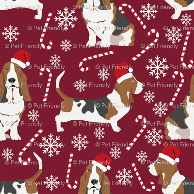 Basset Hound peppermint stick candy canes winter snowflakes dog fabric ruby