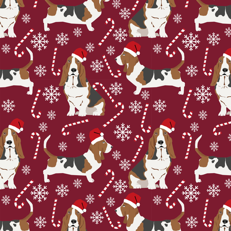 Basset Hound peppermint stick candy canes winter snowflakes dog fabric ruby fabric by petfriendly on Spoonflower - custom fabric