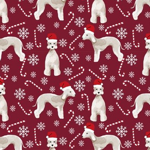 Bedlington Terrier peppermint stick candy canes winter snowflakes dog fabric ruby