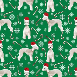 Bedlington Terrier peppermint stick candy canes winter snowflakes dog fabric green