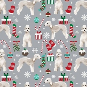 Bedlington Terrier christmas holiday presents candy canes winter snowflakes dog fabric grey
