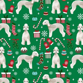 Bedlington Terrier christmas holiday presents candy canes winter snowflakes dog fabric green