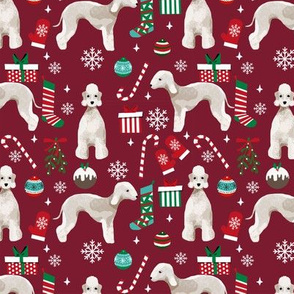 Bedlington Terrier christmas holiday presents candy canes winter snowflakes dog fabric ruby