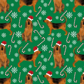 Bloodhound peppermint stick candy canes winter snowflakes dog fabric green