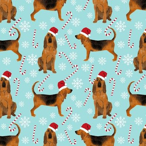 Bloodhound peppermint stick candy canes winter snowflakes dog fabric light blue
