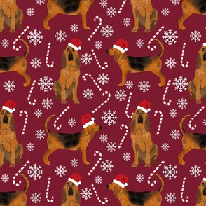 Bloodhound peppermint stick candy canes winter snowflakes dog fabric ruby