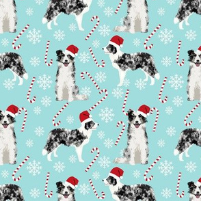 Border Collie blue merle peppermint stick candy canes winter snowflakes dog fabric light blue