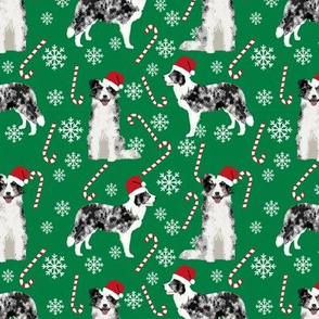 Border Collie blue merle peppermint stick candy canes winter snowflakes dog fabric green