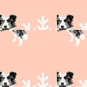 Border Collie blue merle peppermint stick candy canes winter snowflakes dog fabric ruby