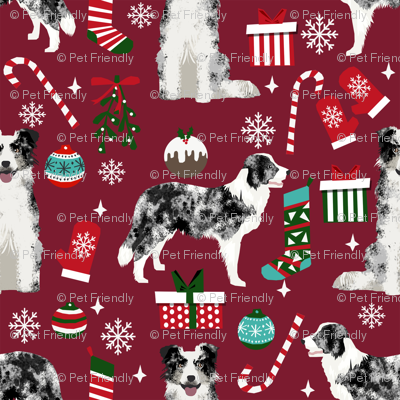 Border Collie blue merle christmas holiday presents candy canes winter snowflakes dog fabric ruby