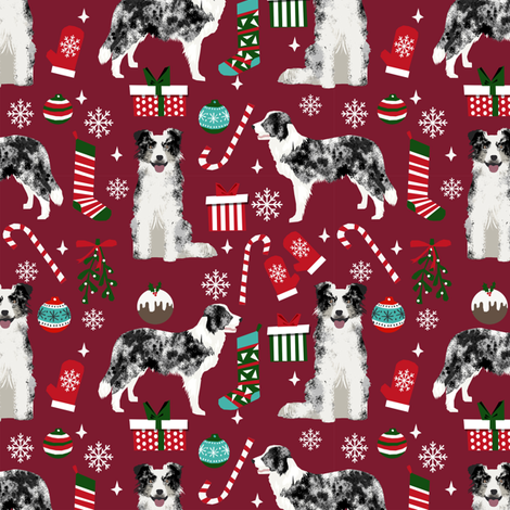 Border Collie blue merle christmas holiday presents candy canes winter snowflakes dog fabric ruby fabric by petfriendly on Spoonflower - custom fabric