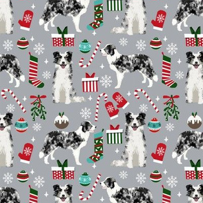 Border Collie blue merle christmas holiday presents candy canes winter snowflakes dog fabric grey