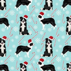 Border Collie peppermint stick candy canes winter snowflakes dog fabric light blue