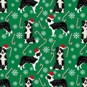 Border Collie peppermint stick candy canes winter snowflakes dog fabric green