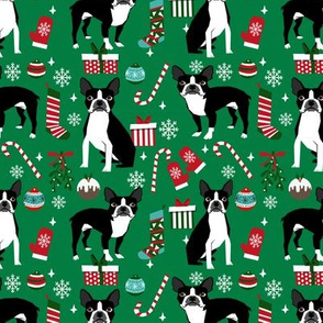 Boston Terrier christmas holiday presents candy canes winter snowflakes dog fabric green