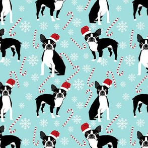 Boston Terrier peppermint stick candy canes winter snowflakes dog fabric light blue
