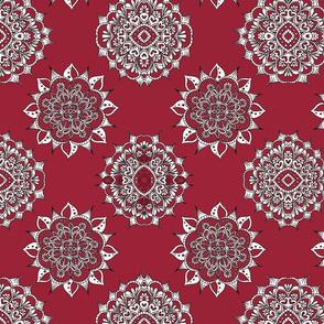 Red Snowflake Mandala