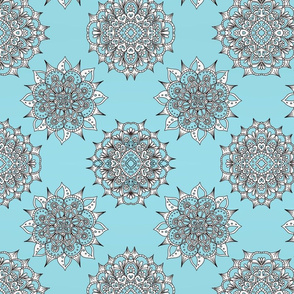 Light Blue Snowflake Mandalas