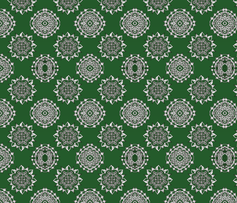 Dark Green Holiday Snowflakes fabric by addie_d on Spoonflower - custom fabric