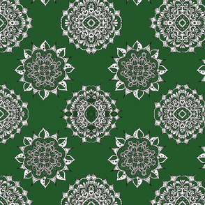 Dark Green Holiday Snowflakes