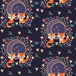 Two Foxes Under the Moon