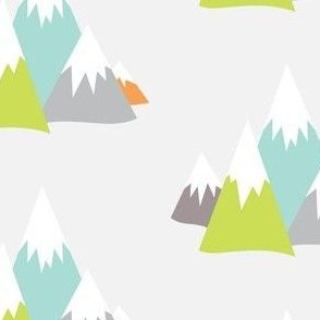 Mountain Adventures in Lime + Orange + Aqua + Greys
