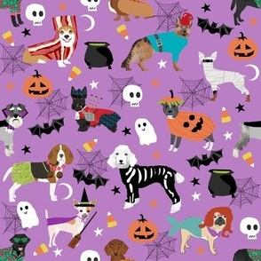 dogs in halloween costumes - dog breeds dressed up fabric - purple