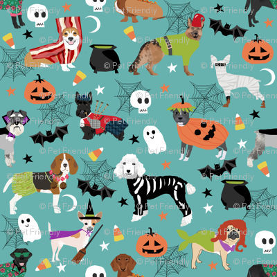 dogs in halloween costumes - dog breeds dressed up fabric - turquoise