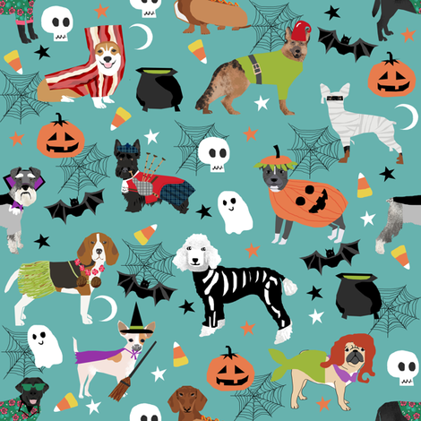 dogs in halloween costumes - dog breeds dressed up fabric - turquoise fabric by petfriendly on Spoonflower - custom fabric