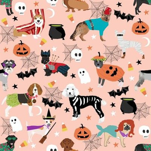 dogs in halloween costumes - dog breeds dressed up fabric - peach