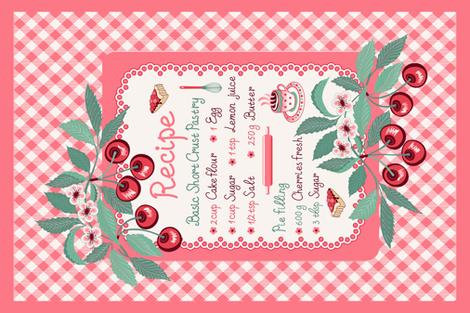 Cherry pie teatowel  fabric by olgart on Spoonflower - custom fabric