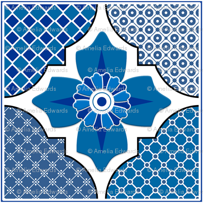 Talavera 4-Floral and Geometric - Blue