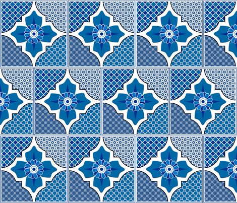 Talavera 4-Floral and Geometric - Blue fabric by ameliae on Spoonflower - custom fabric