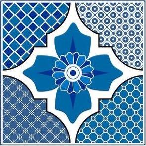 Talavera 4-Floral and Geometric - Blue