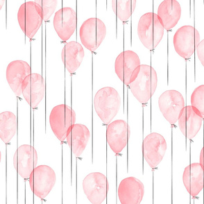 watercolor balloons in pink