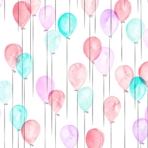 watercolor balloons - pink and blue