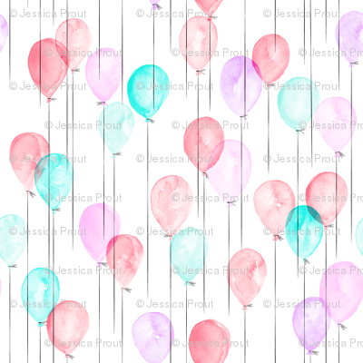(small scale) watercolor balloons - pink and blue
