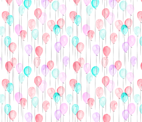(small scale) watercolor balloons - pink and blue fabric by littlearrowdesign on Spoonflower - custom fabric