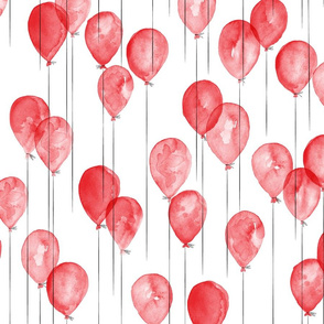 watercolor balloons - red