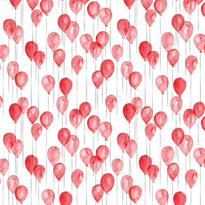(small scale) watercolor balloons - red