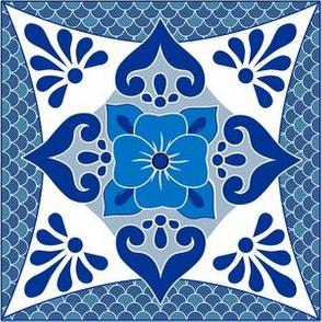 Talavera 4-petal Flower - Blue