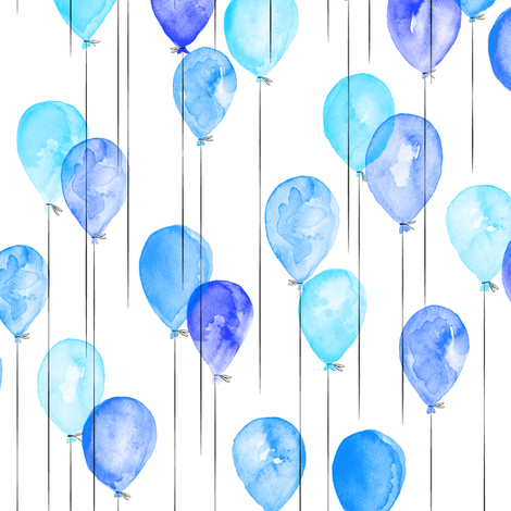 (small scale) blue watercolor balloons  fabric by littlearrowdesign on Spoonflower - custom fabric