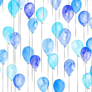 blue watercolor balloons