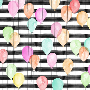 multi balloons on black stripes - watercolor birthday fabric