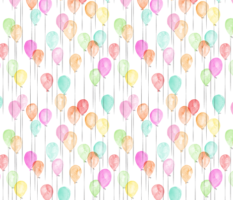 (small scale) watercolor multi balloons - birthday fabric by littlearrowdesign on Spoonflower - custom fabric