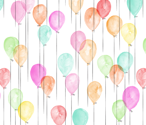 watercolor balloons in multi  fabric by littlearrowdesign on Spoonflower - custom fabric