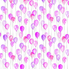 (small scale) watercolor balloons - pink and purple