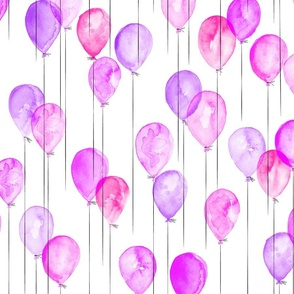 pink and purple watercolor balloons