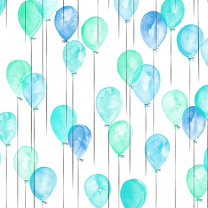 blue and green watercolor balloons