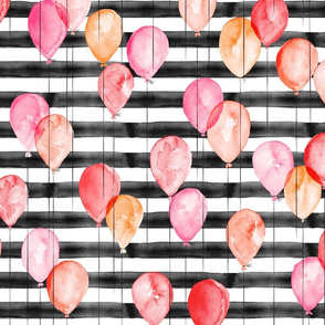 watercolor balloons on black stripes